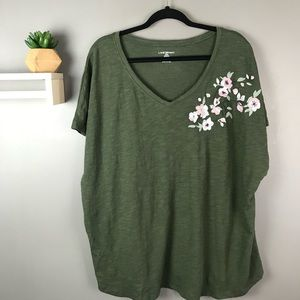 Lane Bryant Floral embroidered t-shirt green 22/24